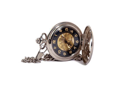 Photo of opened old vintage pocket watch against the white background photo