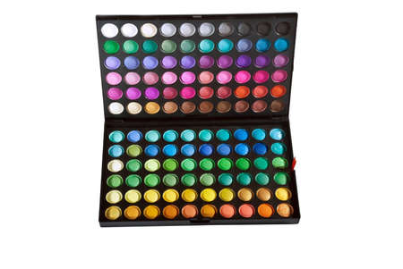 Professional make up eye shadow multicolor palette  Isolated on the white background Stock Photo - 12825885
