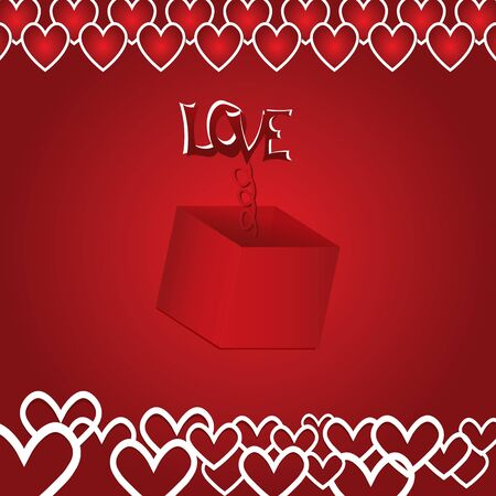 Beautiful gift of love with the text on a red background with hearts  Vector