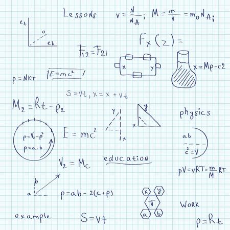 simbolos matematicos: Ilustración de un cuaderno escolar en el patrón de la física sin fisuras