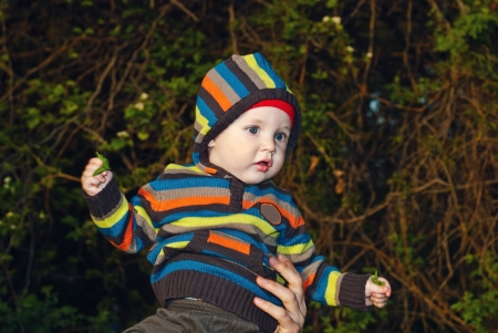 Cheerful boy in the hood in nature  photo