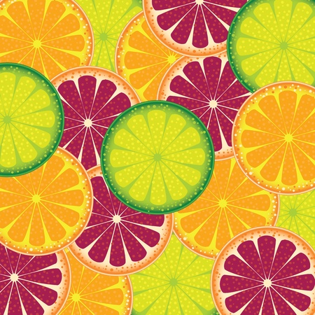 Vector illustration of a pattern of juicy fruit orange, lime and grapefruit  illustration
