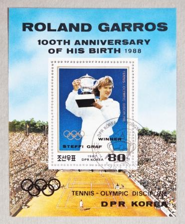 graf: DPR KOREA CIRCA 1987:  stamp printed by DPR KOREA, shows Steffi Graf, tennis winner. ROLAND GARROS - 100th ANNIVERSARY OF HIS BIRTH 1988