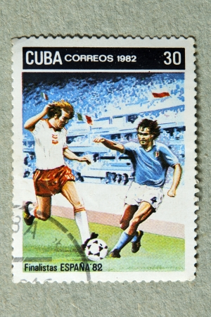 finalists: CUBA CIRCA 1982: stamp printed by CUBA, shows Spanish football finalists in 1982, CIRCA 1982