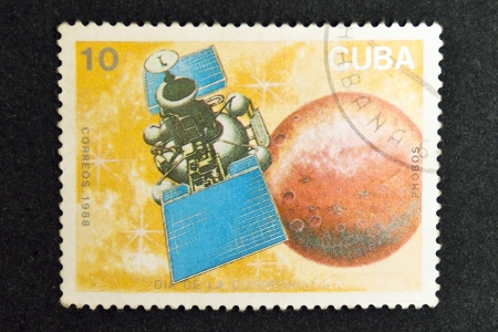 CUBA CIRCA 1988: stamp printed by CUBA, shows Cosmonautics Day, CIRCA 1988
