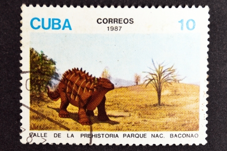CUBA CIRCA 1987: stamp printed by CUBA, shows dinosaurs - Prehistory birth of Valley Park Baconao , CIRCA 1987
