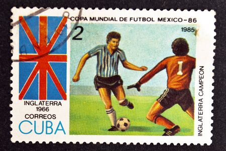 CUBA CIRCA 1985: stamp printed by CUBA, shows Football World Cup Mexico-86 - Champion of Inglaterra - Inglaterra, 1966 , CIRCA 1985