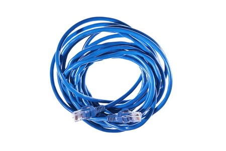 Closeup of blue internet cable on the white background  photo