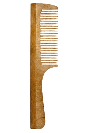 personal accessory: Wooden hairbrush isolated on a white background