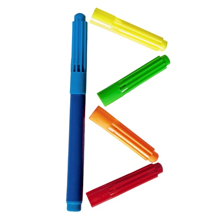 Colored markers posted b letter on a white background Stock Photo - 14835653