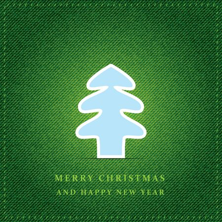 Merry Hristmas tree with green jeans texture Vector