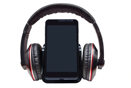 Mobile phone with headphones isolated on white background  photo