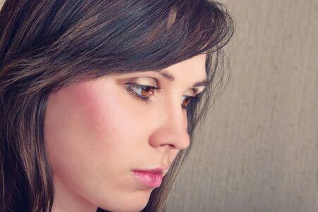 Closeup portrait of beautiful brunette. Studio shot Stock Photo - 16661824