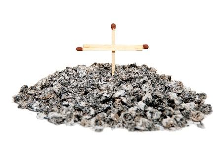 Bunch cigarette ash with a cross of mathces  Concept idea - No smoking