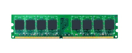 ddr: RAM module for the personal computer on a white background. Random access memory Stock Photo