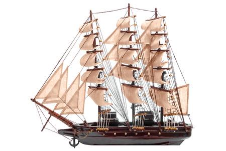 Model wooden ship isolated on white background  Stock Photo