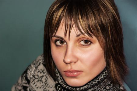 Portrait of a beautiful attractive girl closeup.