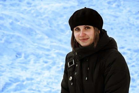 Happy Girl outdoors in cold winter weather photo