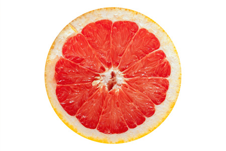 Slices of ripe red grapefruit isolated on white background.