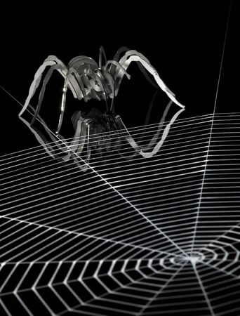 a simplified spider made of metal and a artificial spiderweb. Red illuminated studio shot in black back Stock Photo - 10830032