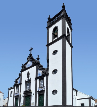 urbanized: dynamic view showing a church at Sao Miguel Island Stock Photo