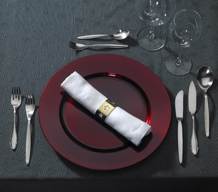 festive place setting on dark table cloth seen from above Stock Photo - 10840098