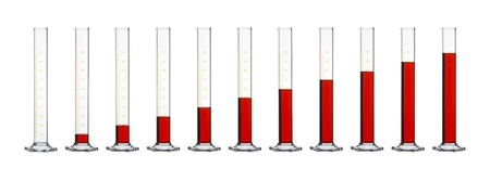 row of measuring cylinders made of glass, gradually filled with translucent red fluid in front of white back photo