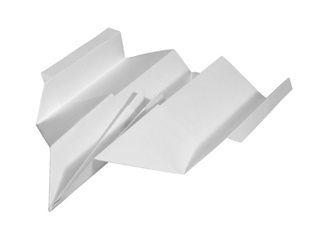 studio photography of a paper plane isolated on white with clipping path photo