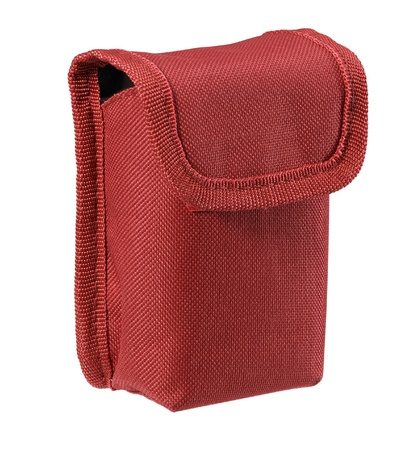 studio photography of a red belt pouch made of fabrics in white back photo