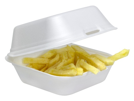 some french fries in a open white plastic box isolated on white Stock Photo - 10838387