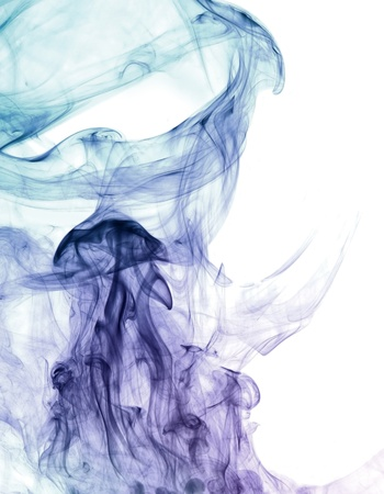 wavily: abstract picture showing some multicolored smoke in white back