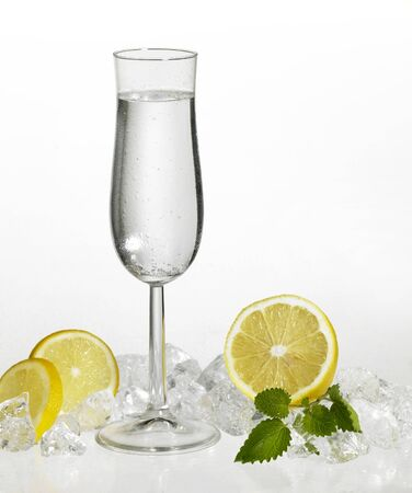 reflectance: studio photography of a clear drink in fresh ambiance with citrus fruits and ice cubes