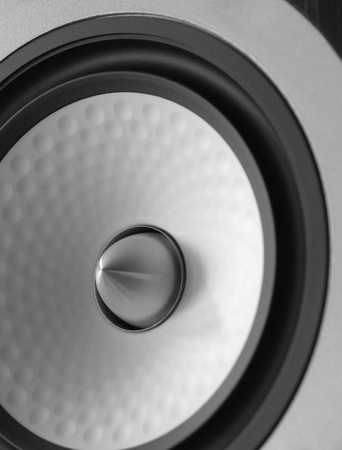 public address: full frame abstract speaker detail, futuristic ambiance in grey, metallic and black