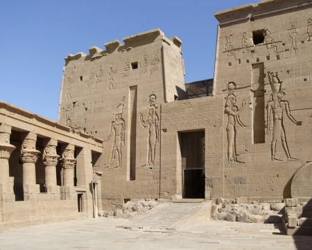 detail of the ancient temple of Isis in Egypt photo