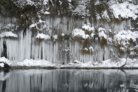 lots of icicles near river Kocher in Southern Germany photo