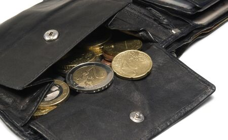 allegory painting: bankrupt theme with open black leather moneybag and two euro cent coin