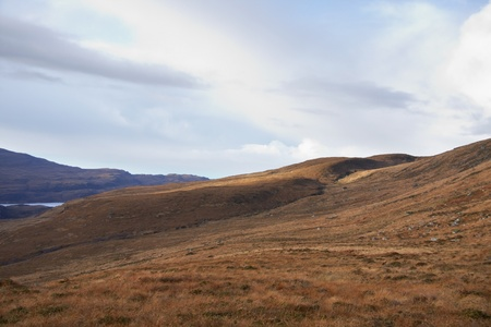 brown overgrown landscape in Scotland near Stac Pollaidh Stock Photo