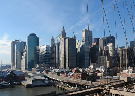 city view of New York seen from Brooklyn Bridge (USA) Stock Photo - 10838932