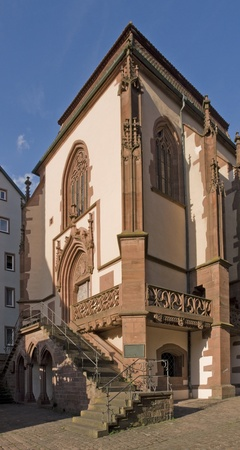 wertheim: detail of the Kilianskapelle in the Old Town of Wertheim am Main (Southern Germany) in sunny ambiance