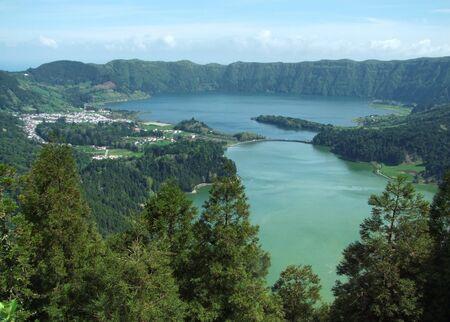 agriculture azores: lake named lagoa das sete cidades at Sao Miguel Island