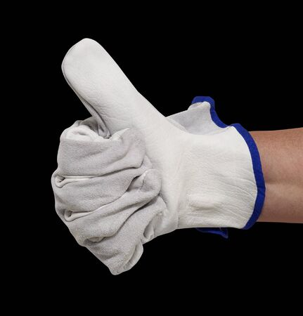 hand gloved with a light grey working glove while signaling
