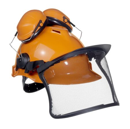 accouterment: a orange protective helmet with ear- and face- protection. Studio shot in white back