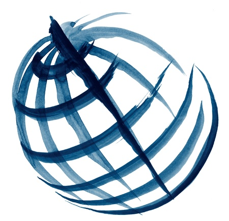 brushstroke and crayon sketchy illustration of a globe in white back Stock Illustration - 10839934