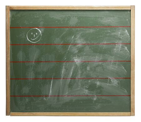 wiped out: old used greenboard with crayon-painted smiley and red lines on it. Studio photography in white back