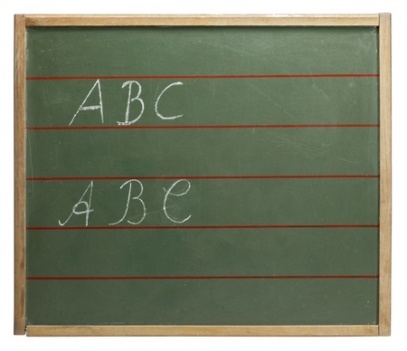 home schooling: red lined old blackboard with written ABC on it. Studio shot in white back