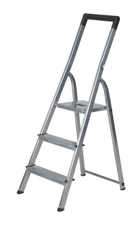 reachability: studio photography of a metal ladder isolated on white with clipping path