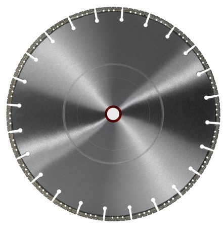 frontal shot of a diamond studded cutting wheel in white back photo