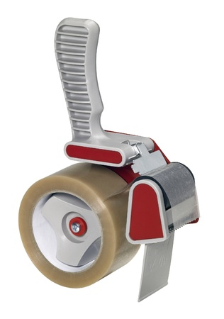 studio photography of a adhesive tape roller isolated on white, with clipping path photo