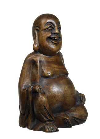 studio photography of a wooden Buddha sculpture in white back Stock Photo - 10839946