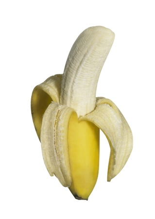 awry: half peeled fresh banana isolated on white, with clipping path